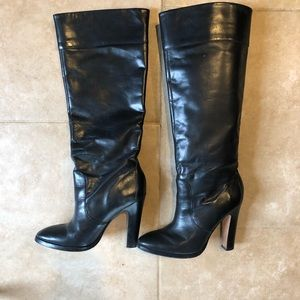 Black Leather Michael Kors Boots with Heel